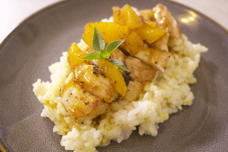 Κοτόπουλο με πορτοκάλι και ρύζι με κάρυ